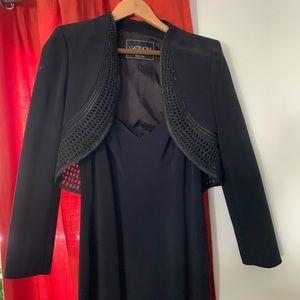 Black long Gattinoni gown and short jacket